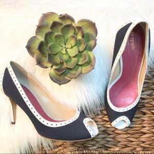 Kate Spade navy & white Giselle peep toe heels
